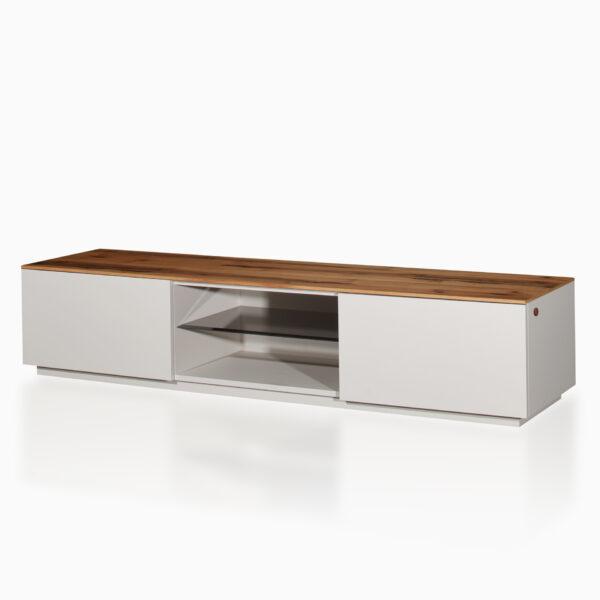 Mobile TV iGins in legno di Noce con 2 ante, 1 ripiano, 1 vano giorno con un ripiano in vetro fumè, zoccolino effetto vedo-non-vedo