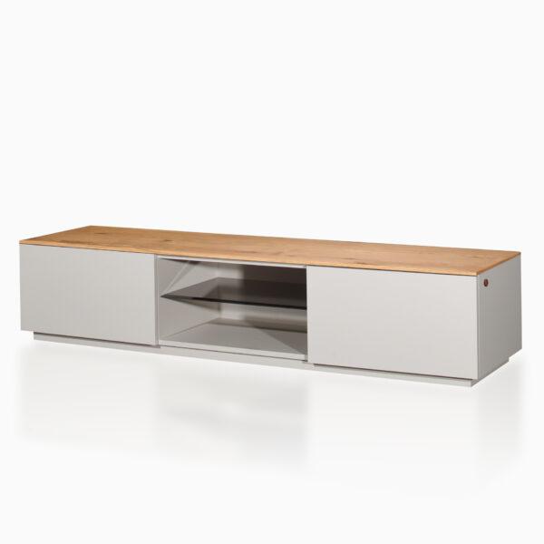 Mobile TV iGins in legno di Rovere con 2 ante, 1 ripiano, 1 vano giorno con ripiano in vetro fumè, zoccolino effetto vedo-non-vedo