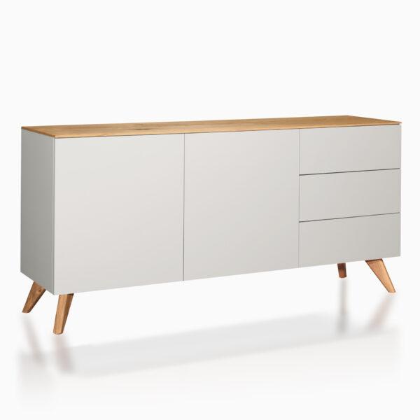 Credenza iGins in legno di Rovere con 2 ante e 2 ripiani, 3 cassetti, con piedini