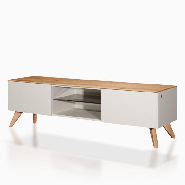Mobile TV iGins in legno di Rovere con 2 ante, 1 ripiano, 1 vano giorno con ripiano in vetro fumè, con piedini