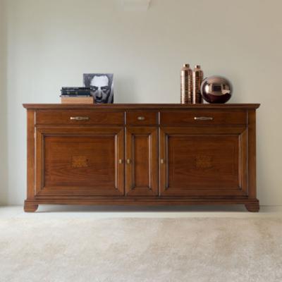 Credenza classica in legno di ciliegio con 3 porte, 3 cassetti, 3 ripiani interni mobili in legno anticato, Collezione Arte Piombini – C1 finitura Ciliegio anticato